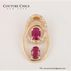 Genuine Ruby Gemstone Designer Charm Pendant Solid 18k Yellow Gold Diamond Pave Fashion Fine Jewelry (couturechics.facebook1) Tags: genuine ruby gemstone designer charm pendant solid 18k yellow gold diamond pave fashion fine jewelry