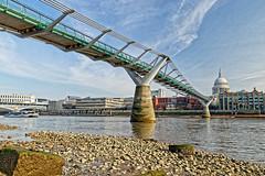 Low Tide (Croydon Clicker) Tags: bridge millenniumbridge stpauls cathedral river thames water tide beach rocks building architecture sky cloud london dome