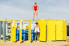 Bay Watch - Bombay Beach (LauraJayneAustin) Tags: 2019 bombaybeach california lauraaustin baywatch swimsuit red colors desert art pool dangerous