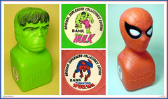 A.J. Renzi - Hulk & Spider-Man Banks  1978 (StarRunn) Tags: marvelcomics marvel comicbook superheroes incrediblehulk hulk spiderman bank rjrenzi toy 1970s