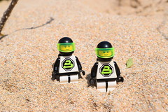 Blacktron Troopers on a sandy location. (Working hard for high quality.) Tags: sand planet theme space classic lego blacktron photography characters story