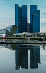Doubled (*Capture the Moment*) Tags: 2015 architecture architektur cbd centralbusinessdistrict elemente marinabay reflection reflexion sg50 singapore singapur wasser water