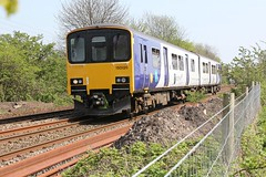 Northern Rail Leeds to Southport 2N99 service  passes New Lane station in the hands of BR Class 150126 on a hot sunny Easter Saturday 20th April 2019 © (steamdriver12) Tags: easter saturday 20th april 2019 hot sunny northern rail leeds southport 2n99 service passes new lane station br class 150126 diesel multiple unit spring lancashire england sprinter