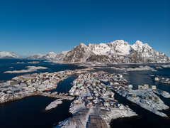 Henningsvær by Drone (virtualwayfarer) Tags: lofoten norway frozen snow snowy ice winter march cold dramaticnature travel travelphotography landscape landscapes nature travelphotographer vågan nordland henningsvær town village city smalltown drone fromabove dji mavicair dronephoto arcticcircle arctic farnorth scandinavia nordic norwegian fjord fjords