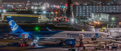 french bee arrival from papeete with continuing service to paris (pbo31) Tags: bayarea california nikon d810 color night dark april 2019 boury pbo31 panoramic large stitched panorama sanfranciscointernational sfo sanbruno sanmateocounty airport aviation airline plane terminal travel mist rain fog boeing 747 frenchbee airchina gate a350 airbus