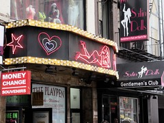2019 Neon Sign Lady Marquee Playpen Burlesque 6428 (Brechtbug) Tags: 2019 neon sign lady marquee for playpen burlesque theater 43rd street 8th avenue looking west nyc 04202019 hell s kitchen clinton new york city taxi cab porno theaters signs striper nude woman ladies store stores window display displays fashion mannequin mannequins