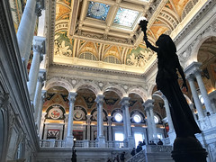 Library of Congress interior design columns and statue (Aqua and Coral Imagery) Tags: freedom statue dc washingtondc washington interior design indoors ceiling columns architecture colors colorful shadows mosaic art inspo