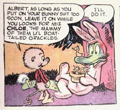 Easter Bunny Albert Alligator and Pogo 6546 (Brechtbug) Tags: easter bunny albert alligator pogo possum by cartoonist walt kelly cartoon vintage 1960s 60s newspaper comic strip comics sunday funnies comicstrip opossum animal humor funny beast fable political satire witty southern okefenokee swamp critters south holiday halloween 1962 screengrab screen grab