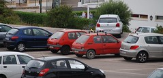 (Sam Tait) Tags: car spotting menorca spain 2013 retro old classic peugeot 205 french red 3 door petrol diesel polo 206