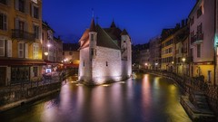 The old prison (karinavera) Tags: city longexposure night photography cityscape urban ilcea7m2 sunset blue theoldprison tourism france town annecy