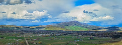 Panoramic  View Of Emmett Valley (http://fineartamerica.com/profiles/robert-bales.ht) Tags: facebook fineart flickr gemcounty haybales idaho landscape pano people photo photouploads places scenic states technique mountain emmett sweet sunrise squawbutte farm rollinghills idahophotography treasurevalley clouds spring emmettvalley emmettphotography trees sceniclandscapephotography thebutte canonshooter beautiful sensational awesome magnificent peaceful surreal sublime magical inspiring wow stupendous robertbales town butte goldenhour sunset valley bobbales freezeout memorial panoramic