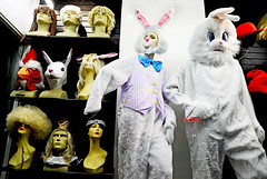 Happy Postmodern Easter (kirstiecat) Tags: bunny rabbit easter happyeaster costumes montreal montréal weird canada store shop windowshopping strange halloween quebec holiday wig rooster queen king
