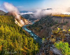 Calcite Springs And The Yellowstone River (rebeccalatsonphotography) Tags: landscape canon geology river yellowstone hotsprings steam calcitesprings yellowstoneriver wyoming np nationalpark rebeccalatsonphotography summer august morning 1635mm wideangle 5ds