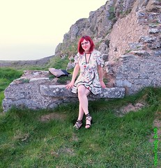 Wicklow walk 1 (eileen_cd) Tags: flowerdress redhead glasses outside wicklow highheels crossdresser transvestite tv cd barelegs