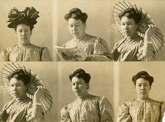 Woman in Five Poses with Hat, Magazine, and Parasol (Rearranged) (Alan Mays) Tags: ephemera photographs photos photostrips photobooths foundphotos portraits poses five women clothing clothes hats bows hair hairstyles parasols umbrellas magazines periodicals colliers reading readers stoic staring expressionless damaged torn flawed amusing humor humorous funny antique old vintage vptp