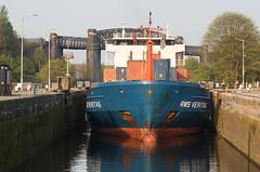 RMS Veritas 05 apr 19 (Shaun the grime lover) Tags: bridge reflection ship water warrington latchford cheshire rmsveritas manchestershipcanal locks canal container