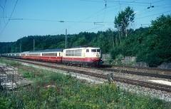 103 226  bei Möhren  06.08.88 (w. + h. brutzer) Tags: möhren eisenbahn eisenbahnen train trains deutschland germany elok eloks railway lokomotive locomotive zug 103 db webru e03 analog nikon