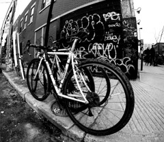 Plateau Bikes (Montreal) (MassiveKontent) Tags: bwphotography streetshot park bike bicycle lines montreal bw contrast city monochrome urban blackandwhite streetphoto montréal quebec canada photography concrete shadows noiretblanc gopro absoluteblackandwhite mono blackwhite blancoynegro