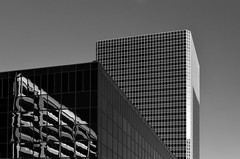 Phoenix Tower (infrared) (dr_marvel) Tags: ir infrared tx texas houston offices skyscraper architecture building lines converging