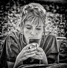 Contacting the Alliance.. (Andy J Newman) Tags: london d500 extinction extinctionrebellion girl mobile nikon parliament parliamentgreen phone pretty protest rebellion sticker woman young england unitedkingdom