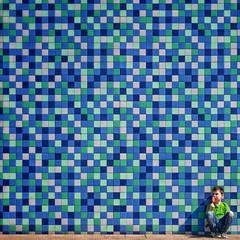 Flavours of Joy (Paul Brouns) Tags: architecture architectuur architektur tiles wall mosaic central station almere centraal flevoland boy ice cream ijs eten eating square joy enjoy pleasure sun blue green netherlands holland