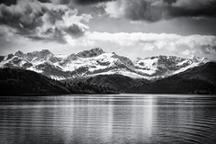 Floating Through Alaska (Explored) (Katrina Wright) Tags: alaskacruise dsc8960edit landscape alaska sea cruise mountains glacier snow ice wintery cold reflection clouds bw monochrome