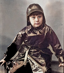 Rubber mackintosh (theirhistory) Tags: boy child kid coat hat souwester raincoat mackintosh