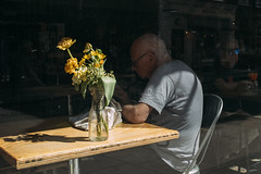 Faded flowers (markfly1) Tags: yellow golden blooms flowers vase table beige brown wood glass elderly gent reading waiting chair seated sat down grey white hair glasses looking through window tribute wish was good or interesting saul leiter black background candid street photo image nikon d750 35mm manual focus lens