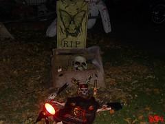 Halloween Decorations (StreetsOfHamilton) Tags: hamilton ontario canada hamiltonontario ontariocanada hamiltonontariocanada halloween halloweendecorations grave skeleton restinpeace rip skull