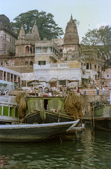 Touring the Ghats (JamesWired) Tags: asia gangesriver india varanasi boat film ghats negative