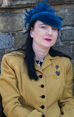 Lady with blue hat (f22photographie) Tags: crich1940sweekend2019 people portraits faces vintageevent glamour glamorous prettygirls hats leicaaposummicronsl75mmf20 1940sfashion