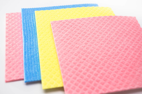 Kitchen cleaning cloths on a white surface