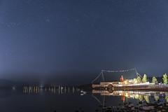 Scottish Midnight (mystero233) Tags: midnight night stars sky clearsky boat steamboat light reflection swan animal still longexposure water lake loch lochlamond balloch scotland uk britain outdoor landscape