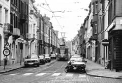 MIVB 7956, lijn 18, Emile Wauterstraat (peter.velthoen) Tags: brussel tram zwartwit monochrome film ilfordfp4 emilewauterstraat neg19011 petervelthoen mivb citroen 7956 pcc mivb7956 lijn18 stib