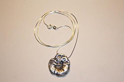 Precious metal clay violet pendant
