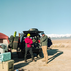 Nick and Jason (Aaron Bieleck) Tags: hasselblad500cm 120film analog 6x6 square film filmisnotdead hasselblad mediumformat wlvf nevada deathvalleytrip nick jason landcruiser outdoors 60mmct mountains kodakportra160
