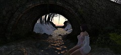 Purified dream (gargantuela) Tags: rocks water sea bridge twilight love snow sadness sky stream trees moss kneel coastline avatar sl secondlife gargantuela virtual river riverside confluence