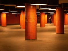 orange underpass (kurtwolf303) Tags: berlin orange person säulen unterführung underpass nikon nikond5500 columns streetphotography artificiallight kunstlicht urban kurtwolf303 germany deutschland architektur architecture