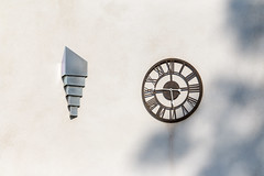 Light and Clock (Crisp-13) Tags: wall light clock roman number numerals outside exterior
