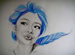 ANIMESIA XII (Sketchbook0918) Tags: drawing paper anime colorful portrait blue braided hair