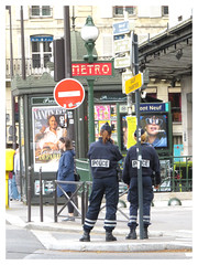 Poster Girls (The Stig 2009) Tags: french police female officers gendarme relaxing street candid uniform thestig2009 thestig stig 2009 2019 tony o tonyo metro station sign