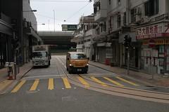 Single track along Chiu Kwong Street from the Whitty Street depot rejoins from rejoins Des Voeux Road West (Marcus Wong from Geelong) Tags: hongkong hongkongtramways tram tramway electrictram hongkongisland hongkong2019