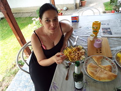Summer eating - Calamari and Beer (sean and nina) Tags: nina june 2018 calamri beer chips fries garlic bread food eat eating table outdoor outside veranda candid meal lunch dinner seated sitting summer hot warm heat black dress brunette hair woman female girl lady girlfriend fiancee wife married beuaty beautiful gorgeous stunning charm charming bare skin arms face brown eyes pink lips neck throat portrait people person serb croatia croatian balkan balkans squid sea