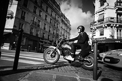 When I get out of here (.KiLTRo.) Tags: kiltro fr france paris street man guy motorcycle bike car building urban life bw blackandwhite
