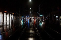 Another rainy night (maekke) Tags: zürich bahnhofstrasse night wet rain silhouette reflection color fujifilm x100f 2019 ch switzerland streetphotography
