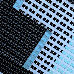sliding scale (♫ marc_l'esperance) Tags: carlzeissjena135mmf35 sonnar zebra vintagelens manualfocus manualexposure building geometry geometric abstraction abstract architecture architectural detail czj carlzeissjena lines angles intersecting canadaplace downtown city graphic 2d