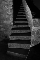 Stairway to... what you will bring it! (Mare Crisium) Tags: stairway escalier marche step darkness obscurité sombre dark noir black blanc gris grey blackwhite noirblanc oldwall wall old vieux mur pierre stone night nuit chateau tour tower castle yoda
