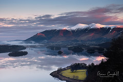 First Light (gcfotographos) Tags: winter mist lake snow mountains reflection clouds sunrise landscape dawn nikon derwent hill lakedistrict sigma keswick daybreak skiddaw blencathra borrowdale d300s greatbritishlandscape