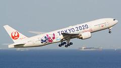 Boeing 777-246, JA773J, Japan Airlines (JAL 2020 Livery) (tkosada.mac) Tags: japanairlines tokyo2020 b772 hanedaairport