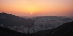Inwangsan Sunset (Scintt) Tags: sky dramatic travel tourist attraction exploration skyline cityscape city urban modern structures architecture buildings offices scintillation scintt jonchiangphotography iconic surreal epic glow light tones dusk twilight financial centre korea evening blue hour skyscrapers tall towers seoul traffic sunset tourism vehicles lines night road mountain hill vantagepoint lotte tower fog sony a7rii landscape nature trees mist haze atmospheric inwangsan residential residences panorama stitched valley forest